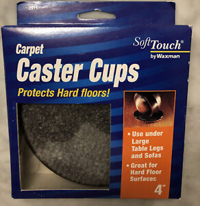 """4-Waxman 4291195N 4"""" Gray Round Carpet Caster Cups Hard Wood Protect, Sofa,Table"""