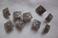 viereckige Ösenknöpfe aus silberfarbenem Metall - 14 mm Seitenlänge - 6 Stück