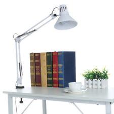 Long Arm Desk Lamp Work Reading Adjustable Folding Clip-on LED Table Light+Bulb