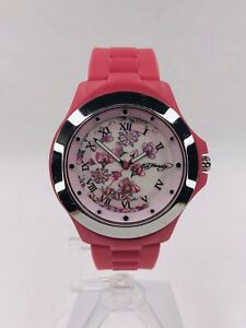 Ladies Ed Hardy Watch - Flower Print Dial - Pink Silicone - Nice!