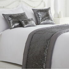 Glamour Luxury Sequin Sparkle Shimmer Embellished Quilted Bed Runner Throw