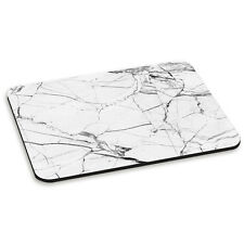 MARBLE WHITE WITH BLACK VEINED PC COMPUTER MOUSE MAT PAD - Stone Effect Pattern