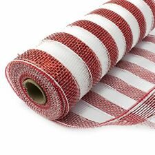 Deco Mesh Glitter Metallic RED AND WHITE STRIPE 10 Yards Eleganza 25cm Christmas
