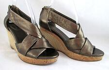 Cole Haan Air Delfina Metallic Bronze Wedge Espadrille Back Zip Sandals 9 Shoes