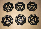 6 Heavy New Old Stock Gate Valve Handles Steampunk Industrial All Black Solid