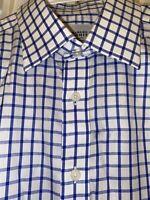 Charles Tyrwhitt Men Shirt French Cuff Non Iron Slim Fit Plaid 16.5 34 Large L