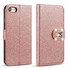Bling Diamond Magnetic Flip PU Leather Wallet Slim Case Cover For Various Phones
