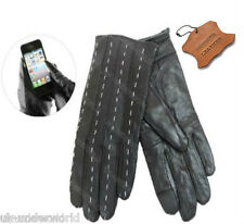 Ladies Black Genuine Leather Touch Screen Gloves Thermal Insulated Fleece Lined 8113 Large