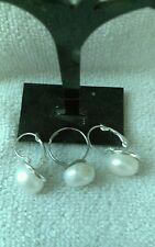 Cultured Fresh Water Undrilled Pearl Leaverback Pierced Earrings & Ring Set