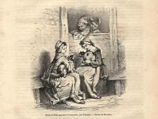 Stampa antica BAMBINI CON CANE E GATTO 1867 Old antique print