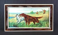 Antique Dog Hunting Lithograph Print in Unique Stained Glass Picture Frame