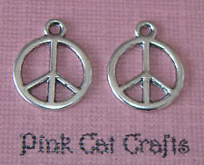 10 x Tibetan Silver PEACE SIGN Double Sided Charms Pendants Beads