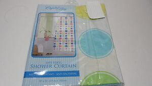 Crystal Bay Vinyl Shower Curtain Blue Green Yellow Pink Circle Anti-bacterial