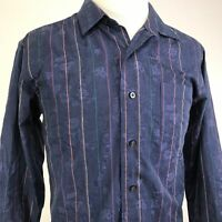 TOMMY BAHAMA LONG SLEEVE BLUE FLORAL SILK BLEND BUTTON DOWN SHIRT MENS SIZE L
