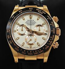 Rolex Daytona 116515 Cosmgraph 18K Rose Gold Ivory Leather Band Watch BRAND NEW