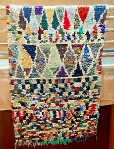 Moroccan boucherouite wool and boucherouite rug  210 x 145 cm