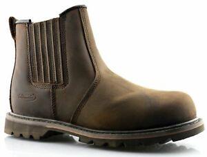 Mens Leather Safety Steel Toe Slip On Gusset Chelsea Dealer Work Ankle Boots
