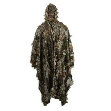 Zicac Outdoor 3D Leaves Camouflage Ghillie Poncho Camo Cape Cloak Stealth Suit