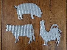 SET Corrugated Metal PIG  COW  ROOSTER Farmhouse Barnyard Farm Animal WALL SIGNS