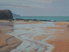 "Original michael richardson huile ""trevone bay, cornwall"" côte plage mer peinture"