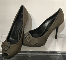 Giuseppe Zanotti Pumps Open Toe Shoes 👠 Olive Green Buckle Suede Italy Sz: 37.5