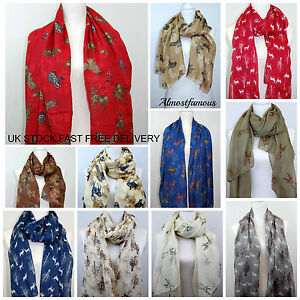 Country Animals Fox Stag Badger Birds Owl Print Scarf Women Scarves Scarfs UK