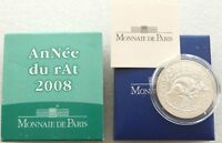 2008 France Lunar Year of the Rat 1/4 Euro Silver Coin Box Coa