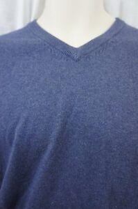 Weatherproof Mens Sweater Sz M Blue Denim V Neck Cotton Cashmere Blend Pullover