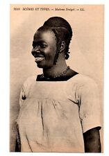 AFRICA ~ WOMAN OF SENEGAL, COIFFURE & JEWELRY ~ c 1904-14