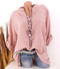 Bluse Damen Italy Tunika Longbluse Fischerhemd Leinen Optik rosa 44 46 48