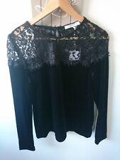 sweewe paris ladies long sleeved velvety lace details top size S/M BNWT