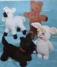 4 Knitted Toys Doll Teddy Lamb & Scottie Dog Vintage Knitting Pattern S2368
