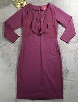 G.I.L.I. Womens Plum Purple 3/4 Sleeve Knit Dress with Chiffon Neck Drape Sz XS