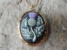 SCOTTISH THISTLE HAND PAINTED CAMEO GOLD PLATED LOCKET!! SCOTLAND, CELTIC