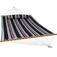 Sunnydaze 2-Person Quilted Spreader Bar Hammock and Pillow - Nautical Stripe