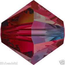 Swarovski 5328 Xilion Bicone Beads  4mm : Ruby AB (50 beads)