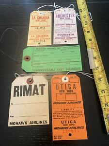 Mohawk Airlines Luggage Baggage Claim Tags New York Utica Rochester LaGuardia…