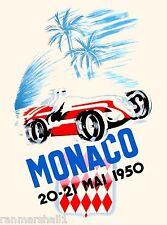 1950 Monaco Grand Prix Automobile Race Car Advertisement Vintage Poster