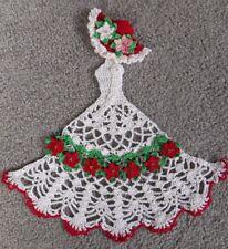 "New Red Christmas Crinoline Lady 11"" Tall Holiday Poinsettias Crochet Doily Gift"