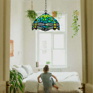 GREEN DRAGONFLY TIFFANY STYLE PENDANT LAMPS HANDCRAFT GLASS LIVING ROOM BULB E27