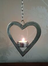 Silver Hanging Heart Tea Light Holder Modern Chic Metal Christmas Decoration New