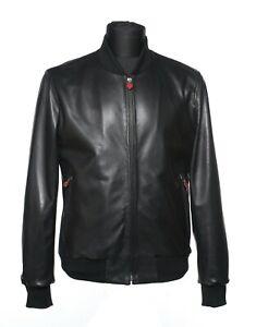 NWOT Kiton Napoli Jet Black Lambskin Bomber Leather Jacket Wool Details 46/56