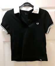 Fred Perry womens black and white short sleeve polo shirt size 8