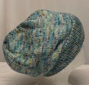 Unisex hand-knitted 55% Leicester wool 45% silk slouch-beanie sew-ezy-australia