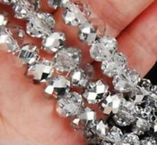 Diy Jewelry Faceted 70pcs 6*8mm Rondelle glass Crystal Beads Silver white