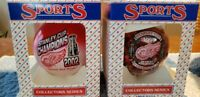 TWO NIB-Detroit Red Wings Ornaments-2002 Champions and 1997 Stanley Cup