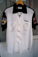 New listing Vtg Olympian White Two tone Bowling Shirt Loop Collar 50s 60s Med Rockabilly Vlv