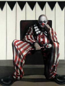 Gill DEL-MACE Bobo - Signed Print + COA, Clown, Magic Realism, Horror Carnival