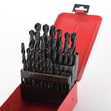 29pc Drill Bit Set High Speed Bits Steel Drill Bits w/ Metal Index Box New