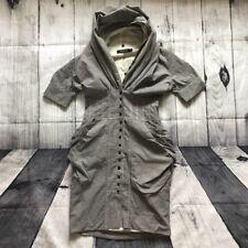 All Saints Grey Black White Gingham Elma Shirt Hooded Dress 8 Steampunk Bustle